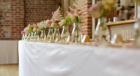 Top table flowers, vintage display, Gaynes Park